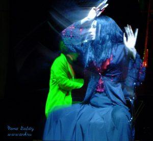 """Ольга Арефьева и «Ковчег». Фото Алексея Барского и Goldy с представления """"Рояль-Ковчега"""" 25 сентября 2004 в ЦДХ."""