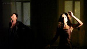 """Спектакль """"Приключения в романе"""" Ольги Арефьевой и Олега Жуковского. Февраль 2015, арт-клуб FreeLabs, Москва"""